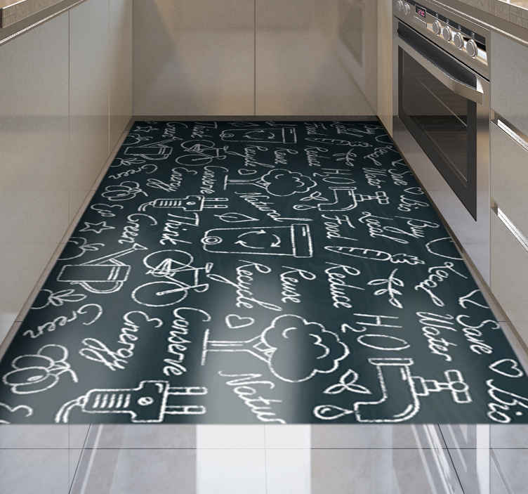 TenStickers. Chalkboard lettering pattern kitchen flooring. Wait for a second, and take a look at this fantastic rectangle vinyl runner rug! Give your kitchen a new and modern view, and order yours now!