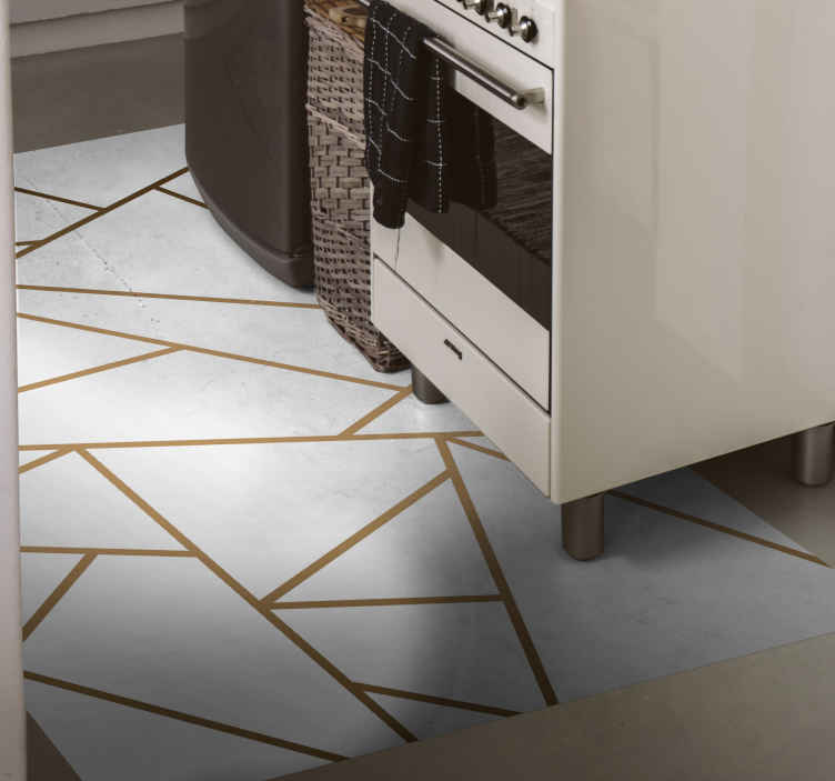 TenStickers. Marble geometric shapes kitchen vinyl rug. Delicate design with white colour and marble finish on a beautiful and classy vinyl rug, perfect for your kitchen or bathroom. Different sizes!