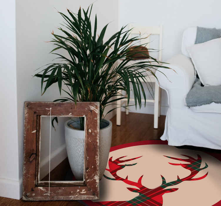 TenStickers. Plaid stag animal mat. Get this animal vinyl rug product to a friend or a family member as the perfect long lasting gift today! Order it today from our webshop!