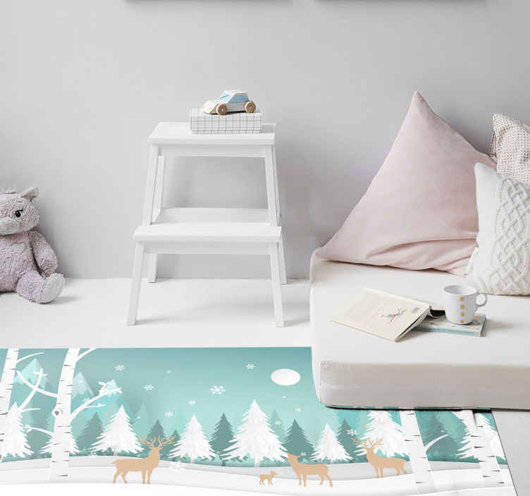 TenStickers. Winter Stag Family vinyl mat. Animal vinyl rug which features an adorable family of deer in a snowy forest with beautiful snowflakes in the air. Available in various sizes.