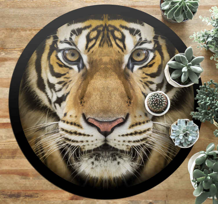 TenStickers. Realistic Tiger animal mat. Impressive Realistic Tiger  animal rug fresh printed on mat colors to avoid light reflections. Buy it now online! Easy to apply! Home delivery