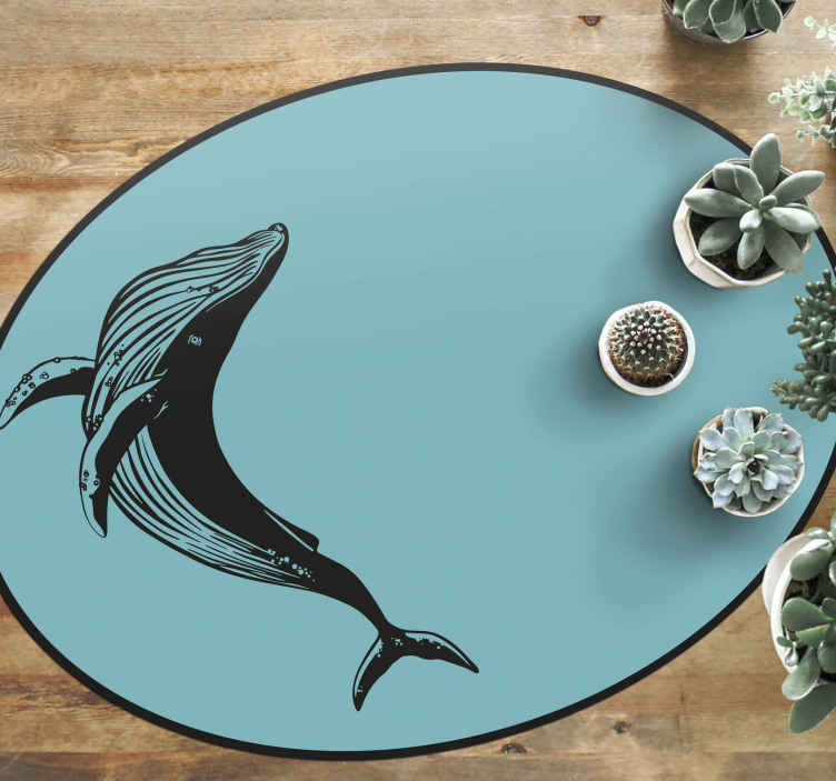 TenStickers. Vintage Whale animal mat. Get this amazing retro rug in your house, it is exactly what you are missing now! Don't wait to get this amazing design and order your rug now!