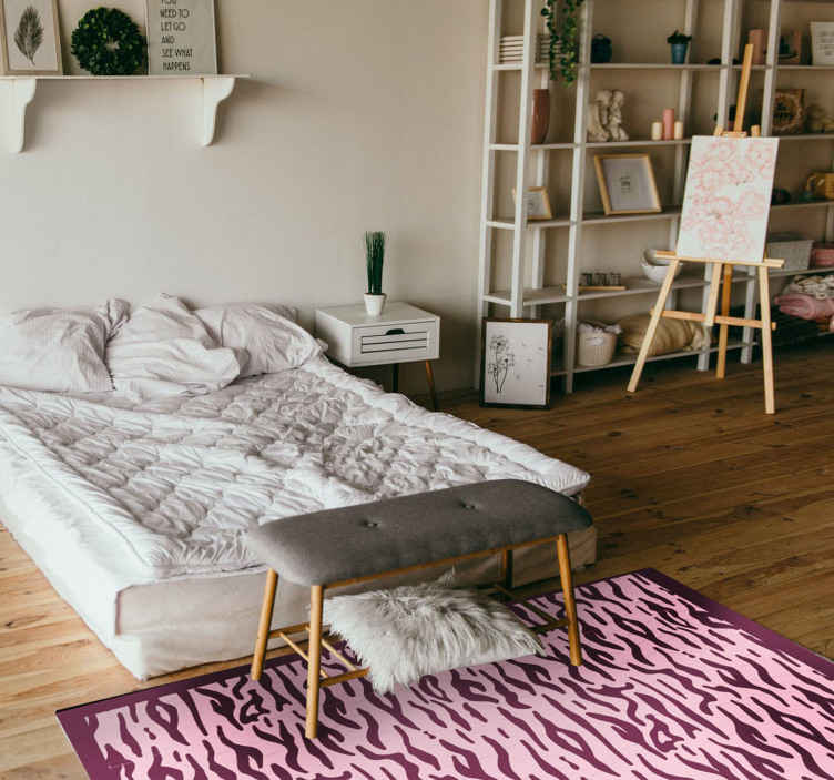 TenStickers. Pink tiger print animal print carpet. Pink tiger print animal print vinyl rug to change the look on your space with an animal impression.  Produced with an original vinyl and durable.