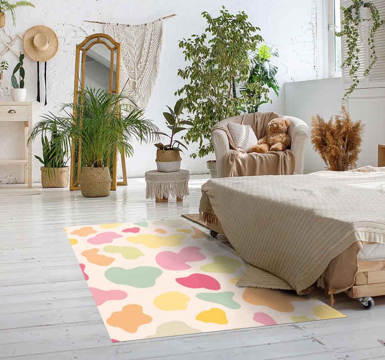 TenStickers. Tapete arco-íris com estampa animal estampada. Adicione uma aparência adorável ao seu espaço com este adorável tapete de vinil com impressão em cores do arco-íris. . Fabricado com vinil de qualidade e fácil de limpar.