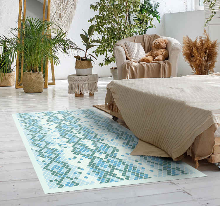 TenStickers. Blue snake print animal print carpet. Our blue snake print animal print vinyl rug would make your space looking lovely. The carpet is made with an original material and easy to clean.