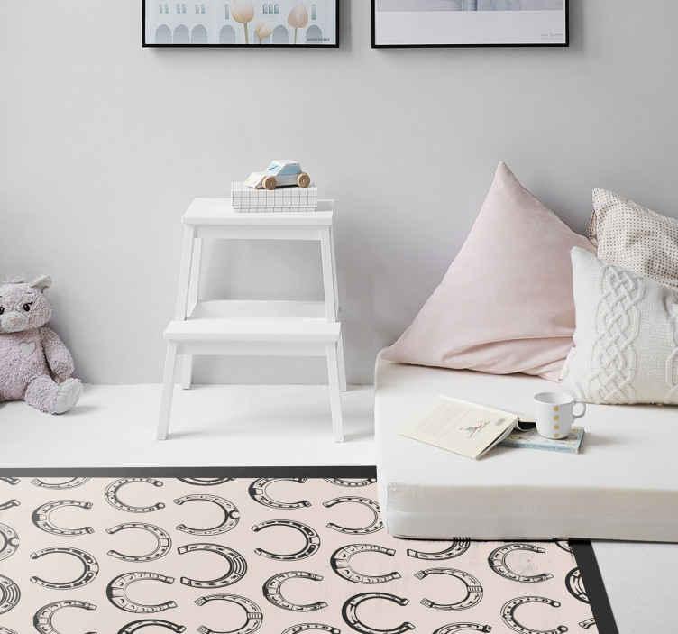TenStickers. Tapete animal com padrão de ferradura. Tapete de animal com padrão de ferradura - adorável tapete de vinil para decoração de casa, escritório e outros espaços. é original, duradouro e fácil de limpar.