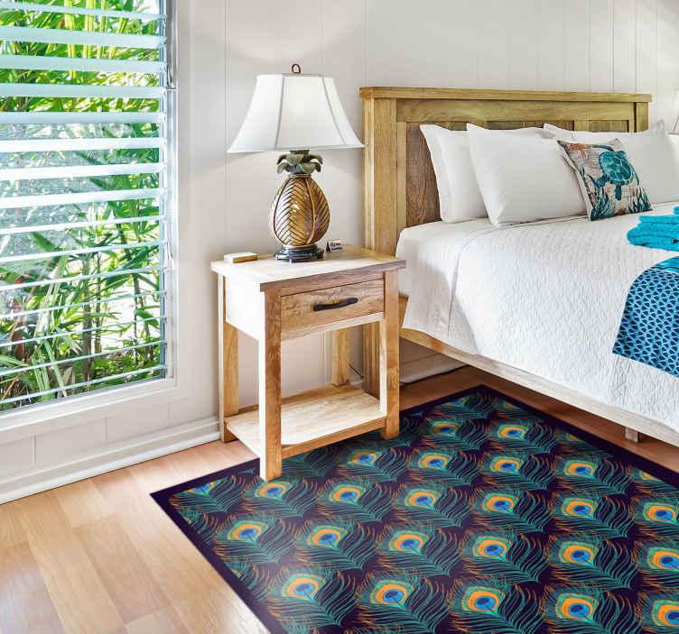 TenStickers. 现实的孔雀印花动物垫. 用我们原始而逼真的孔雀图案动物地毯,完善您的家居装饰。用优质乙烯基制成,易于维护和耐用。
