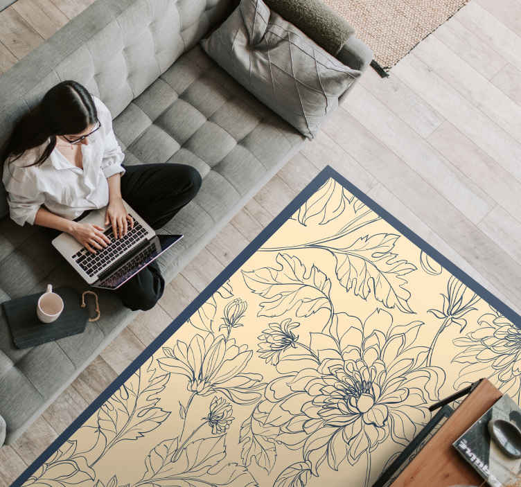TenStickers. Peony different type  pattern flower rug. We can guarantee that only the finest quality materials are used in production for this peony vinyl rug design. Order it from our webshop now!