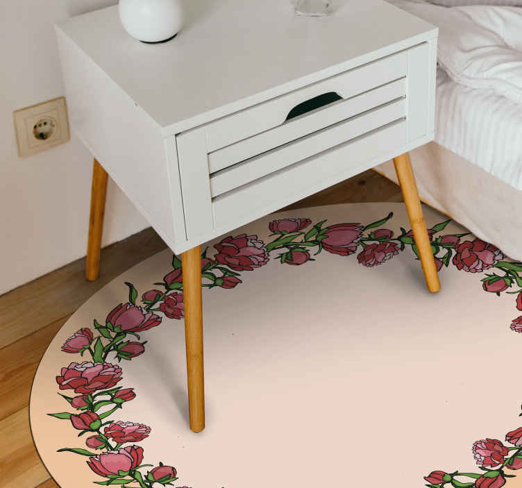 TenStickers. Peony pink boarder flower rug. A very unique and cool flower vinyl rug design that is sure to give your house more energy! Order it today to have it in your arms soon!