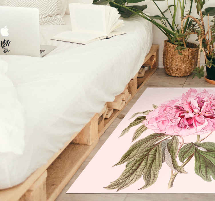 TenStickers. Peony white rectangular flower vinyl rug. Peony white rectangular floral rug  for home and outdoor space. Nice to brighten up any space with a lovely attractive appearance.