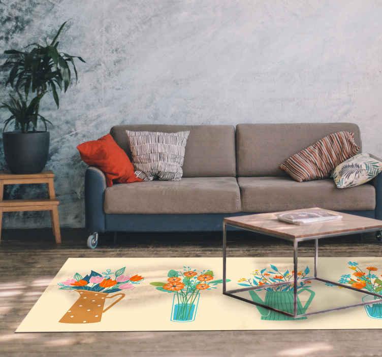 TenStickers. Peônia cartoon monte tapete de flores. Conjunto colorido de tapete de chão de produtode vaso de flores. Um tapete para sala de estar, quarto, sala de jantar e qualquer outro espaço da casa.