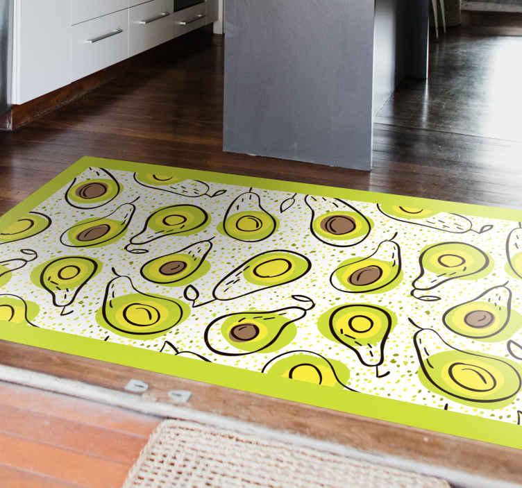 TenStickers. Piso de cozinha com padrão de abacate. Este tapete de cozinha de azulejos de vinil descreve um padrão de abacate em um fundo branco. Você pode limpá-lo facilmente apenas com um pano úmido.