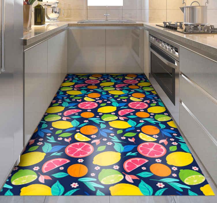 TenVinilo. Alfombra vinilo cocina cítricos multicolor. Alfombra vinilo cocina elegante con algunos cítricos de múltiples colores. Producto antideslizante y muy fácil de limpiar ¡Envío exprés!