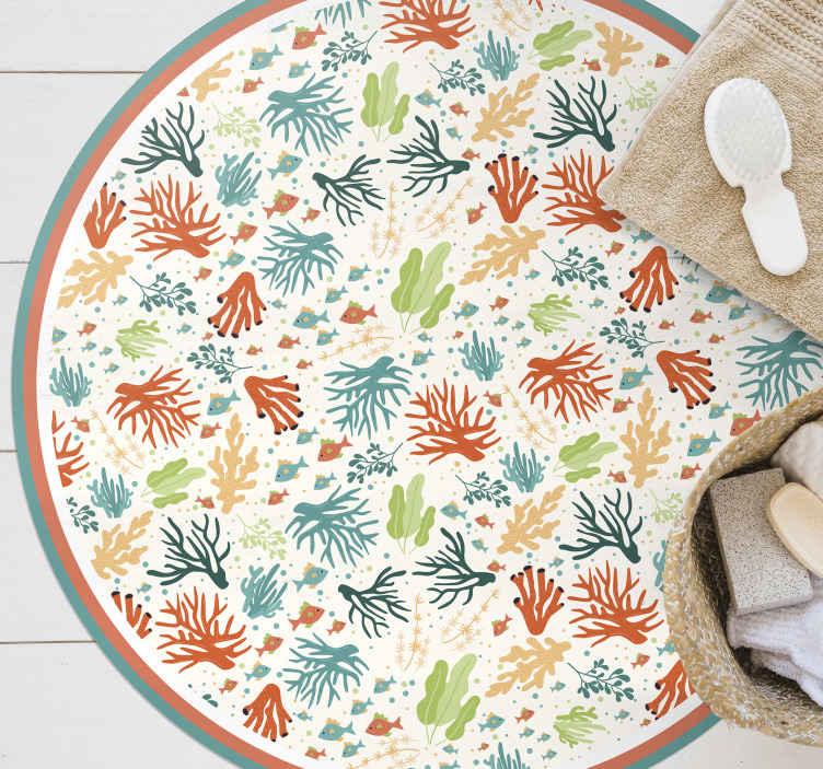 TenStickers. Tapete colorido coral animal. Este tapete de vinil colorido é a maneira perfeita de decorar qualquer espaço em seu quarto, sala de estar ou escritório em casa! Entrega em domicílio em breve!