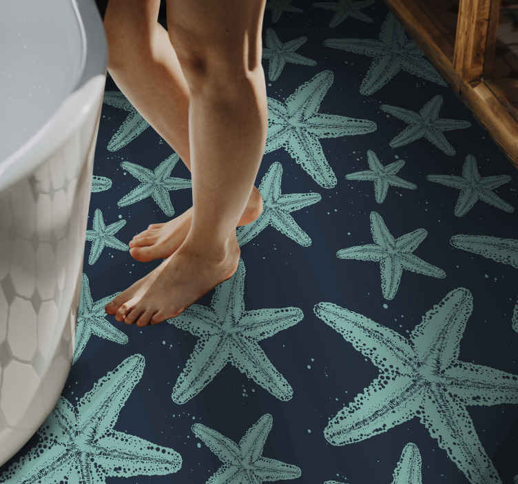 TenStickers. Starfish bluetones bathroom vinyl flooring. Colored Starfish blue tones rectangular jute rug  Perfect to decorate your home  or office.   Buy it now and will send it to the place you tell us!