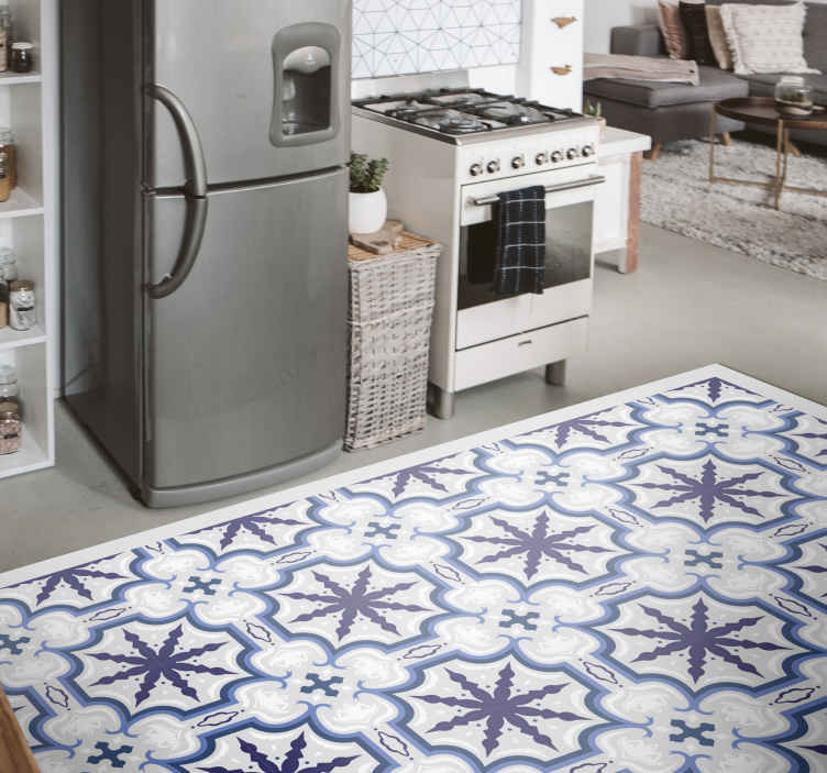 TenStickers. Floral Beija retro rug. Floral Beija vintage vinyl rug suitable for kitchen floor space, bedroom and other areas in a house. Available in any size, original and easy to clean