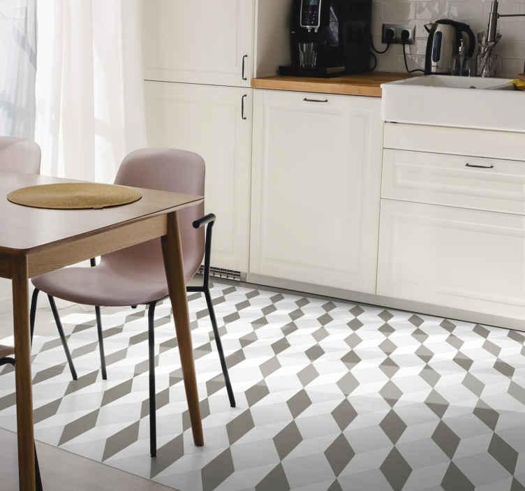 TenStickers. Cubo moderno beija tapetes contemporâneos. Um tapete original bem trabalhado com desenho de cubos geométricos para mudar o jogo em sua casa ou escritório. Produzido com vinil de qualidade.