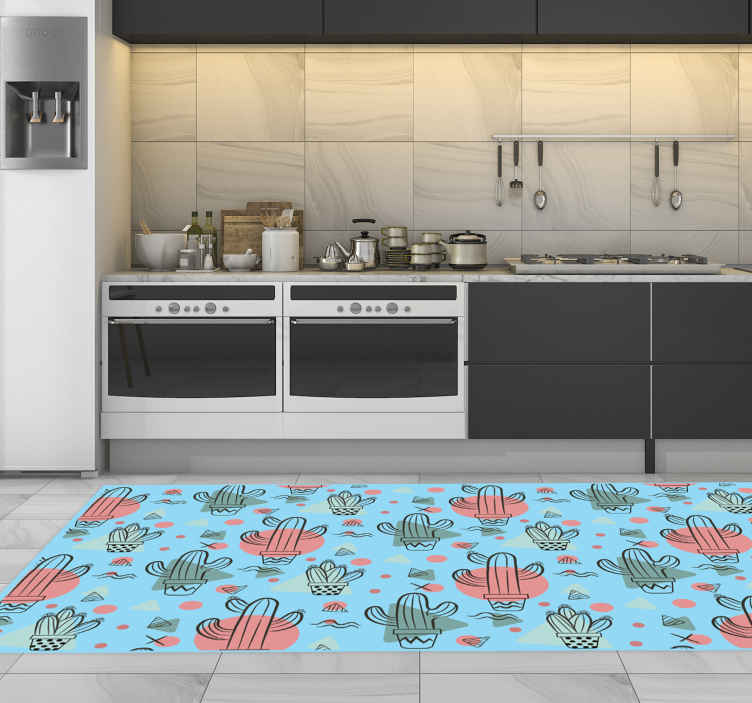 TenStickers. Cactuses pattern kitchen vinyl rug. Take a look at this blue kitchen vinyl rug, full of different kinds of cactuses! The rectangular shape makes it perfect for any room! Home delivery!