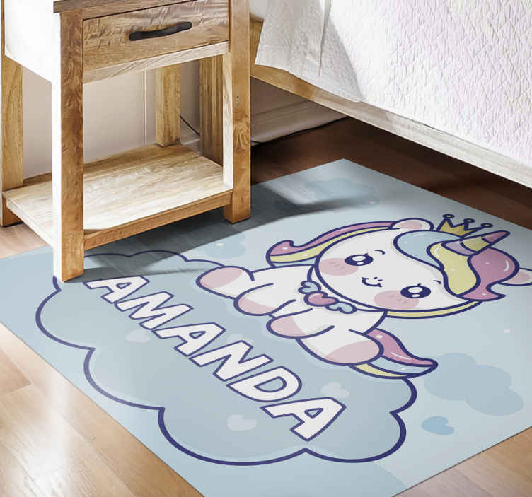 TenStickers. Cute baby unicorn personalised vinyl rug. How will your children feel about personalized vinyl runner rug?  anti-allergic and very perfect for your children  with home delivery!