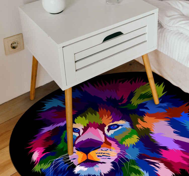 TenStickers. Tapete de vinil animal com rosto de lyon. O que é um magnífico tapete de vinil multicolorido com produtode leão para a sua casa e outras decorações de piso. Original e fácil de manter.