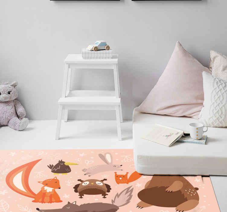 TenStickers. Childish animals kids vinyl carpet. Vinyl floor carpet with children illustration design. The design depicts different cartoon animals with ornamental features.