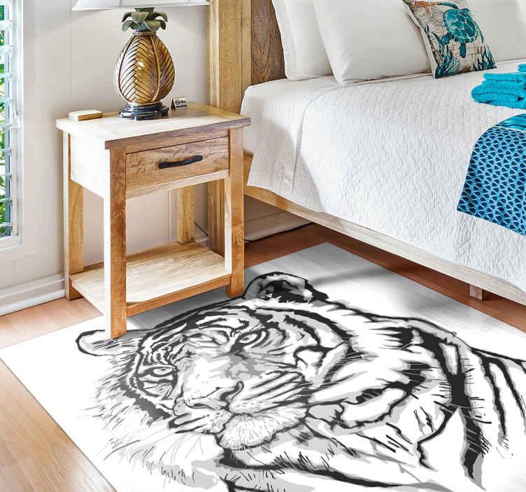 TenStickers. White tiger face animal mat. White tiger face animal vinyl rug to decorate your space at a very low cost. Elegant animal print floor rug manufactured with the best of vinyl.