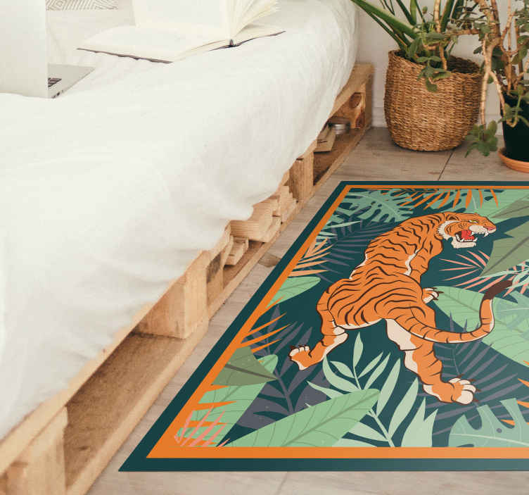 TenStickers. Tiger roaring animal vinyl mat. Buy this tiger roaring animal vinyl rug that attracts attention to it feature.  Suitable for any space, easy to maintain and durable.