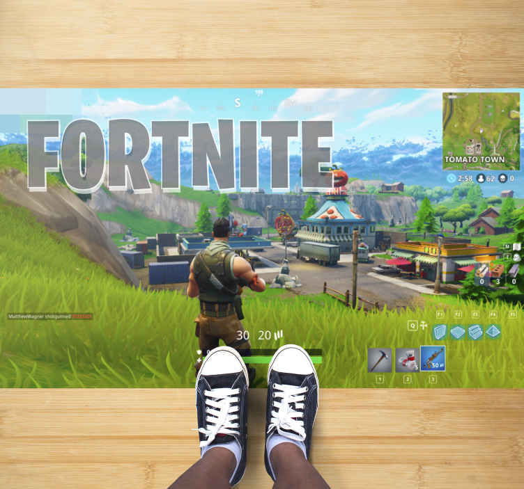 TenStickers. Fortnite gameplay teenage rugs for bedrooms. Do your kids love to play Fortnite? Then this is the game vinyl rug you are looking for! Don't wait any longer and order yours!