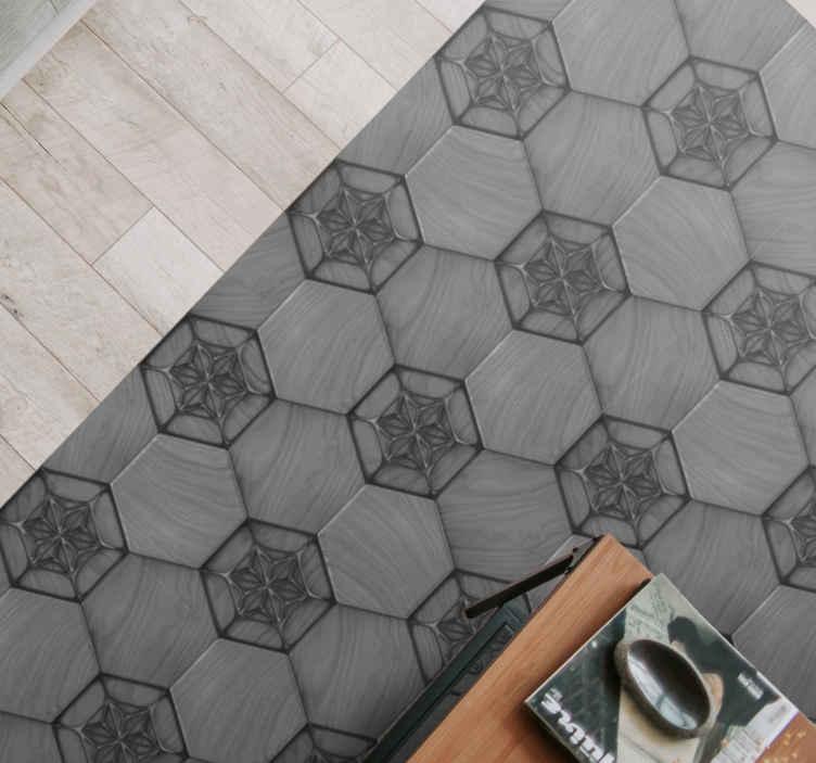 TenStickers. Tapete de azulejos cinza padrão. Traga um pouco de simplicidade para sua sala de estar com este incrível piso de vinil. Não espere mais e peça este tapete de cerâmica agora!