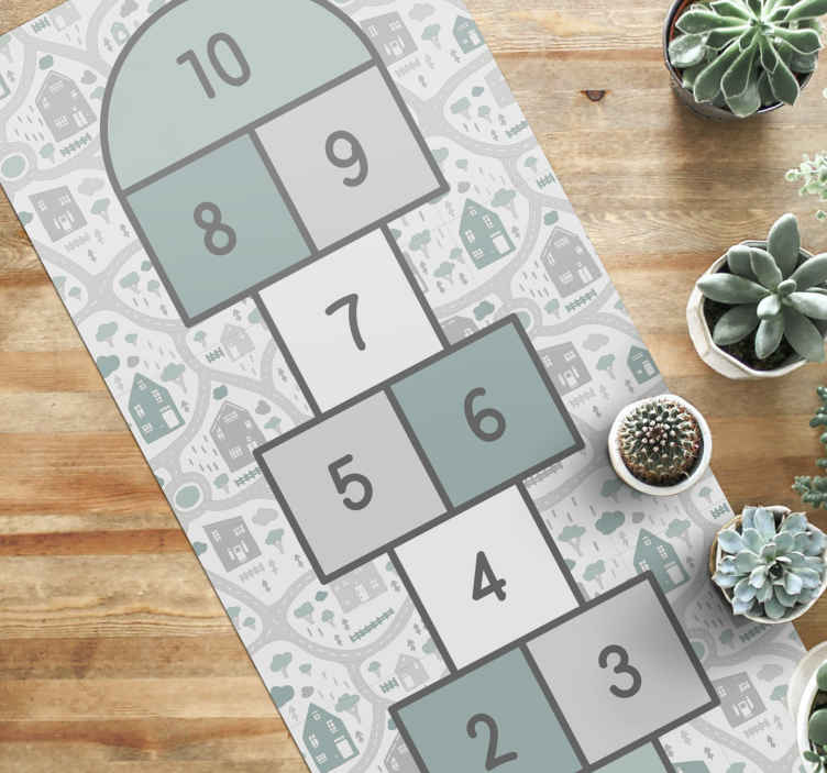 TenVinilo. Alfombra vinilo infantil rayuela gris. Nuestra alfombra vinilo infantil permitirá que tus hijos jueguen un juego divertido y, al mismo tiempo, es un hermoso elemento decorativo.