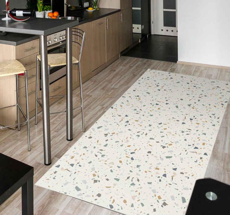 TenVinilo. Alfombras vinilo texturas terrazzo blanco. ¡Esta increíble alfombra vinílica texturas con textura terrazzo ya está disponible para que la solicites! ¡Diseño original y duradero!