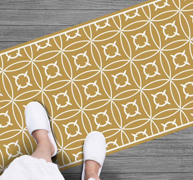 TenVinilo. Alfombras vinílica mosaico azulejos dorados. ¡Trae un poco de color a tu vida con esta increíble alfombra vinílica mosaico con azulejos en tonos dorados! ¡Envío exprés!