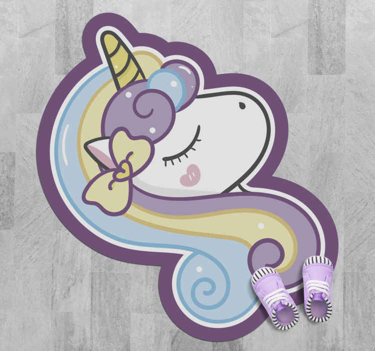 TenStickers. Unicorn proud with rainbow mane kids vinyl carpet. What a lovely unicorn shape vinyl for carpet for kids. Your kid would spend time playing and admiring the carpet featured design.