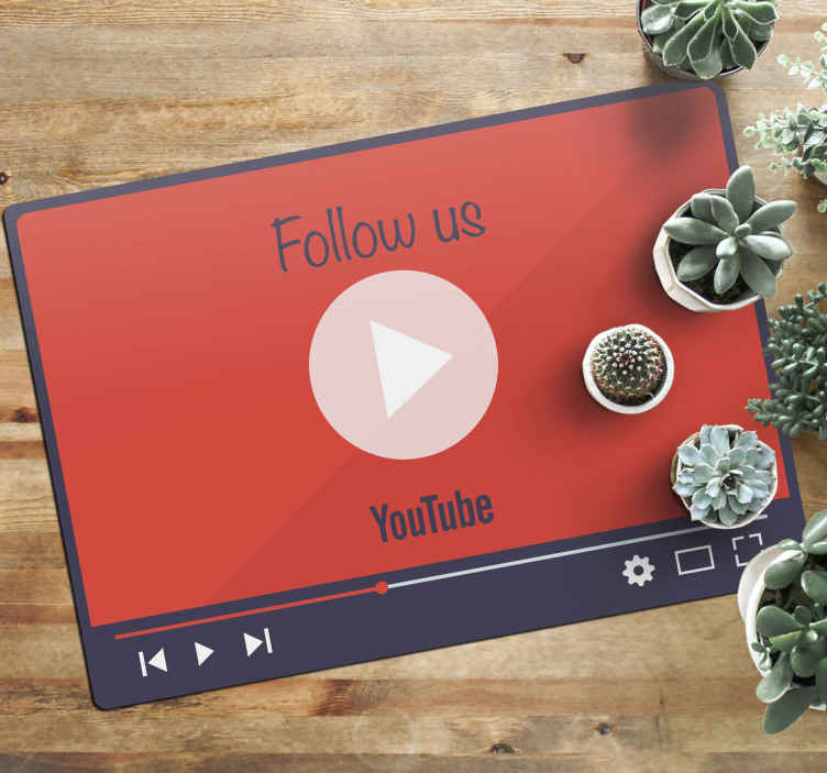 TenStickers. Follow me on Youtube custom vinyl rug. Take a look at this YouTube custom vinyl rug inspired by YouTube video screen, personalised with the name of your channel. Choose the size!