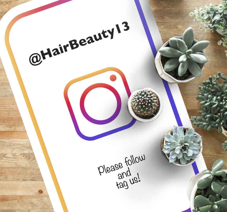 TenStickers. Personalized follow and tag Instagram personalised vinyl rug. Personalized follow and tag Instagram vinyl mat. Perfect for a business space, it can be placed on a lounge, guest space, entrance, etc.