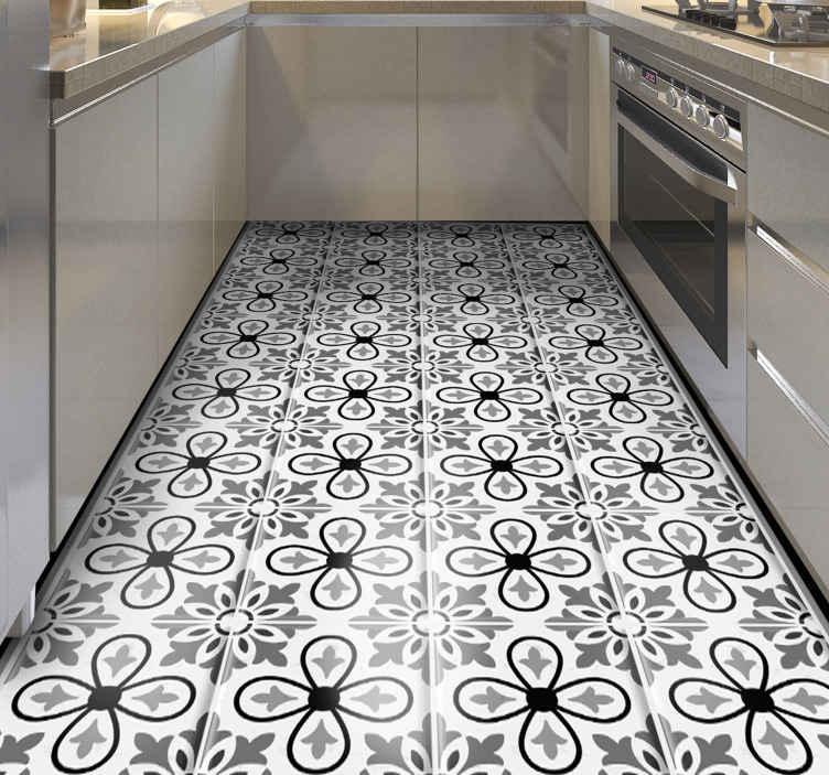 TenVinilo. Alfombra vinílica cocina Portugal blanco y negro. ¿Quieres decorar tu casa de forma sencilla? ¡Entonces esta alfombra vinilo cocina que estabas buscando! ¡Descuentos disponibles!
