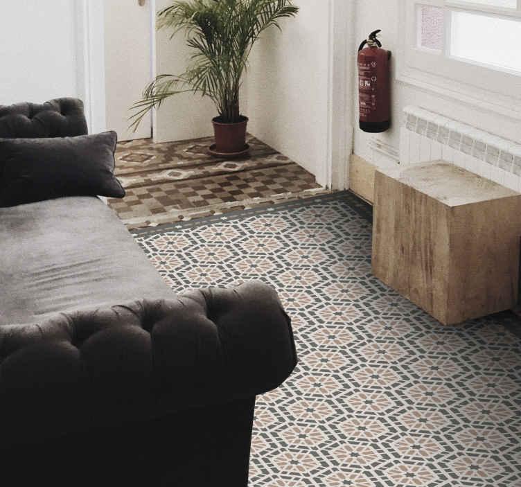 TenStickers. Gotyckie portugalskie płytki jako dywan winylowy. Chcesz wprowadzić ładne wzory do swojego domu? W takim razie ten prostokątny dywanik jutowy jest zdecydowanie czymś dla Twojego domu! Zamów teraz!