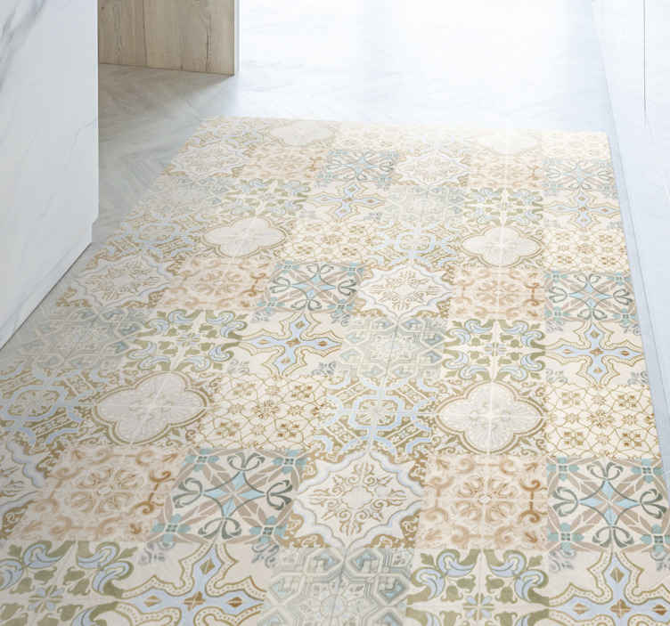 TenStickers. Old relic spanish style tile mat. Classical and superb natural retro vinyl flooring.  What are you waiting for?  Buy now online! We will give you home delivery! Sign up for 10% off.