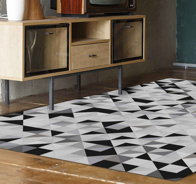 TenStickers. Gray triangles mosaic mosaic vinyl flooring. Elegant and classic great design for your living room with a vintage touch.