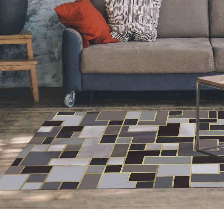 TenStickers. Retângulos cinza, mosaico, piso de vinil. Nosso fantástico tapete de corrida geométrico embelezará sua casa de uma maneira especial! Ficará ótimo em todos os espaços da sua casa!