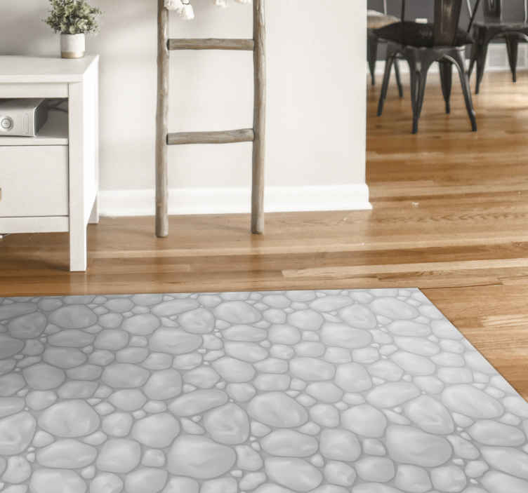 TenStickers. Piso de vinil em mosaico de pedras brancas. Trazemos para sua casa e espaço de escritório um produtoincrível de carpete de vinil que realmente complementa o seu espaço e personalidade.