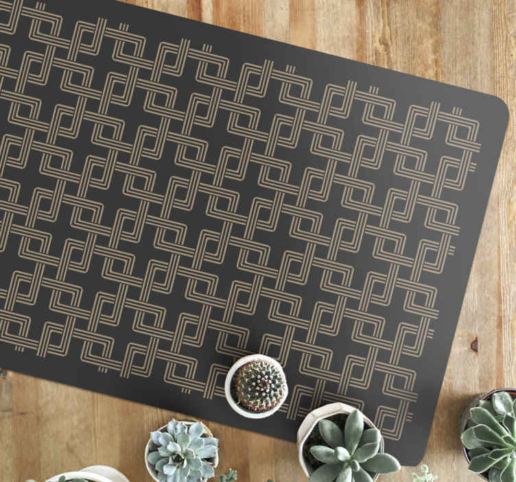 TenStickers. Squares chained mosaic vinyl flooring. Squares chained mosaic floor tiles -Bring this piece on your space to improve it with a lovely look . It fits to decorate as an entrance carpet, etc.
