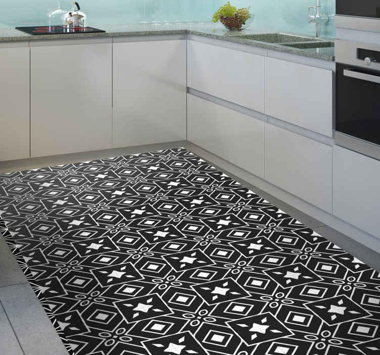 TenStickers. Siyah ve beyaz çini desen karo mat. Mutfak dekorunuza süper klasik ve zarif bir dokunuş katacak siyah beyaz karo tasarımlı orijinal vinil halı.