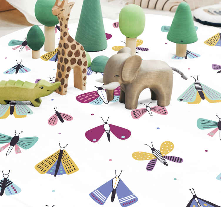 TenStickers. Butterflies flying animal mat. fantastical Butterflies flying animal print rug.Our bedroom carpet are made from high-quality materials and are very easy to clean