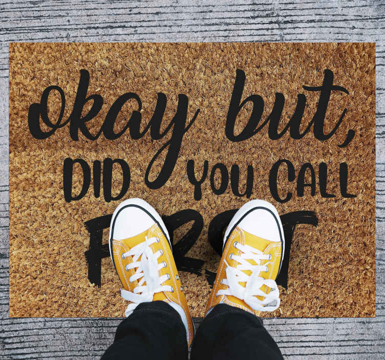 TenStickers. Welcome mat did you call first entrance hall rug. Remind your guests to call before they visit with this amazing entrance hall flooring! Order your new minimal rug today!