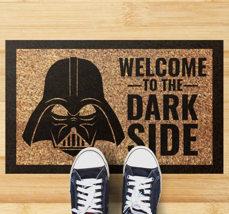 TenStickers. welcome dark side mat entrance hall rug. Are you a Star Wars fan? Would you like to have this minimalist vinyl runner rug.  Buy it now and will send it to the place you tell us!