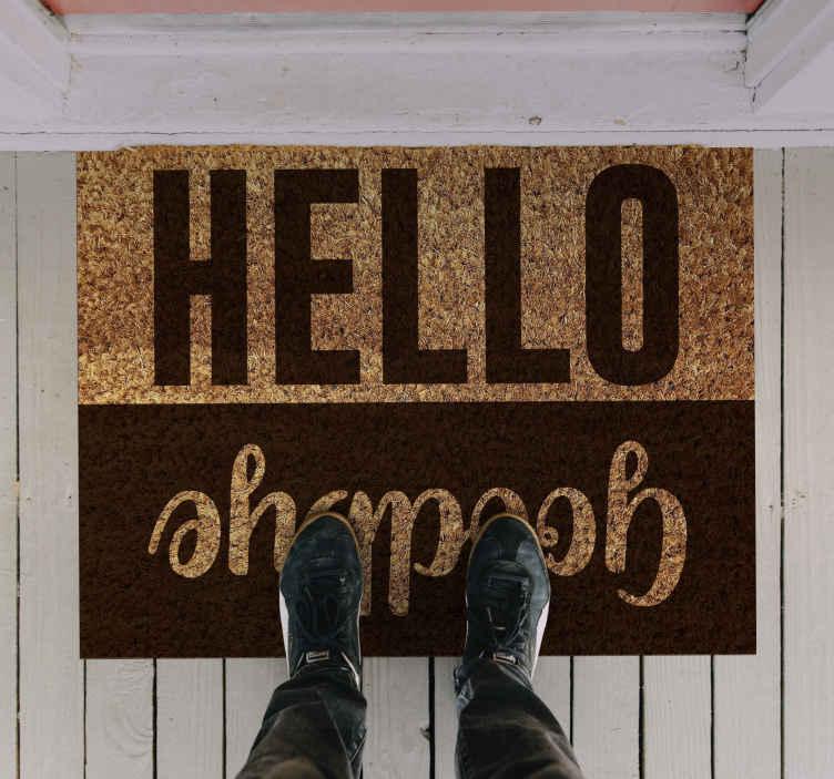 """TenVinilo. Alfombra vinilo recibidor hola y adiós. Alfombra vinilo recibidor con texto """"hola y adiós"""" muy útil para recibir a todos y despedirse de una manera muy agradable ¡Envío exprés!"""