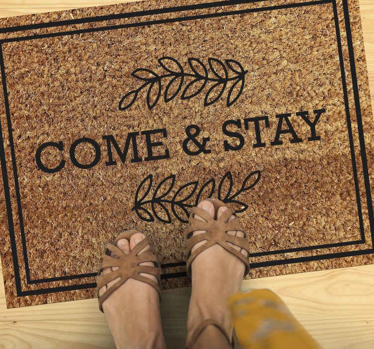 """TenVinilo. Alfombra vinilo recibidor ven y quédate. Increíble alfombra vinilo recibidor  con frase """"bienvenida ven y quédate"""" perfecta para colocar en la puerta de tu casa ¡Elige tus medidas!"""