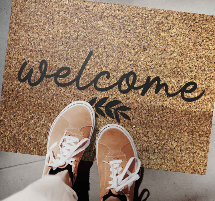 """TenVinilo. Alfombra vinilo recibidor con planta. Increíble alfombra vinilo recibidor para decorar en cualquier lugar de casa. Diseño con texto """"Welcome"""" y planta minimalista ¡Envío exprés!"""
