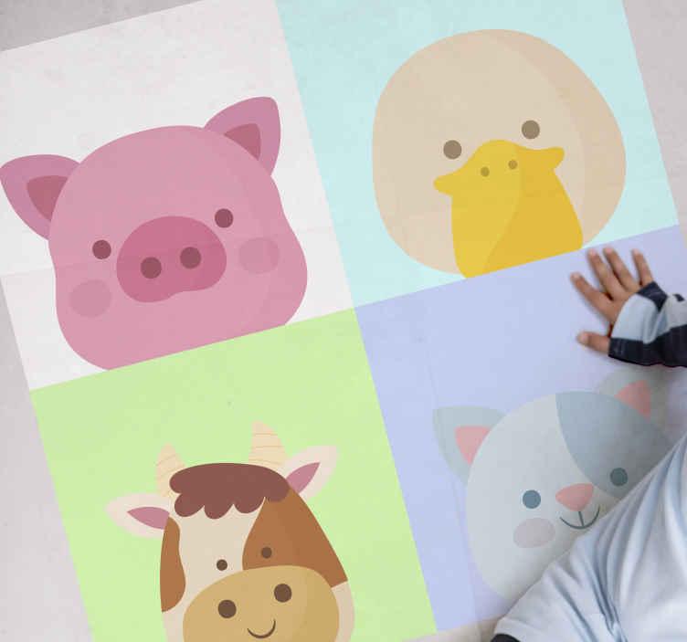 TenVinilo. Alfombra vinilo azulejos animales infantiles. Alfombra vinilo azulejos de 4 lindos animales de granja perfecta para niños y bebés ¡Compra ahora online! ¡Fácil de aplicar!!